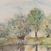 Aquarellmalerei, Wasser, Baum, Stimmung
