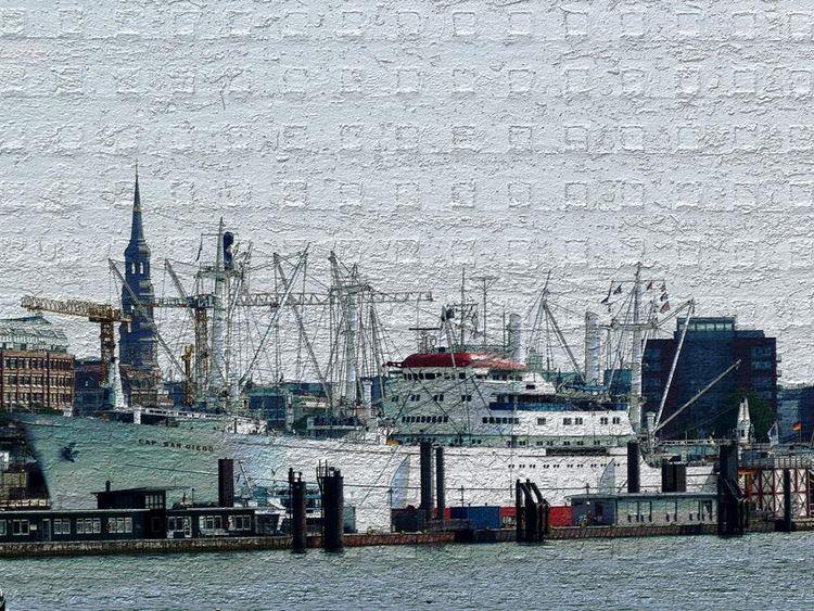 Fine art foto, Hamburg, Cap san diego, Hafen, Stahlplatte, Fotografie
