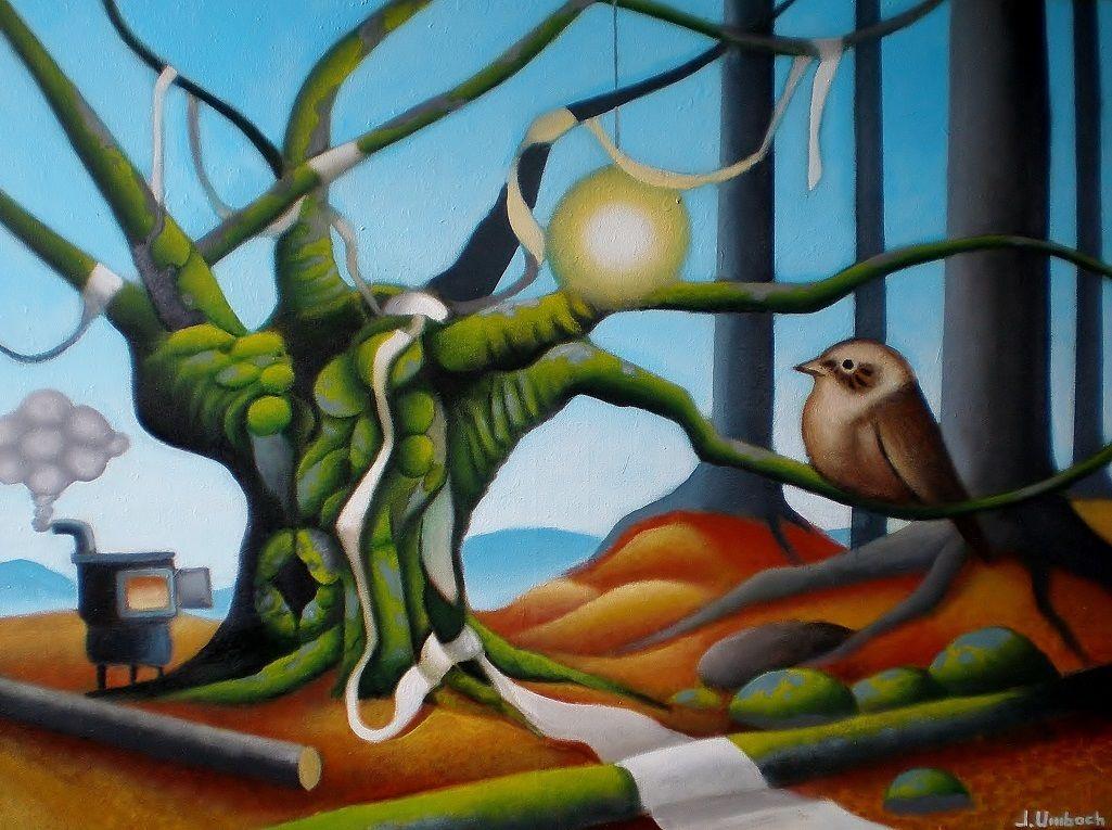 Landschaftsmalerei surrealismus  Bild: Gemälde, Surreal, Landschaft, Vogel von Jens Umbach bei KunstNet