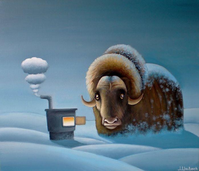 Winterlandschaft, Feuer, Gemälde, Schnee, Rauch, Moschusochse