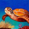 Meeresschildkröte, Korallen, Bilderbuch, Seegras