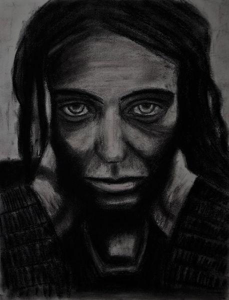 Pastellmalerei, Kohlezeichnung, Portrait, Zeichnungen, Selbstportrait