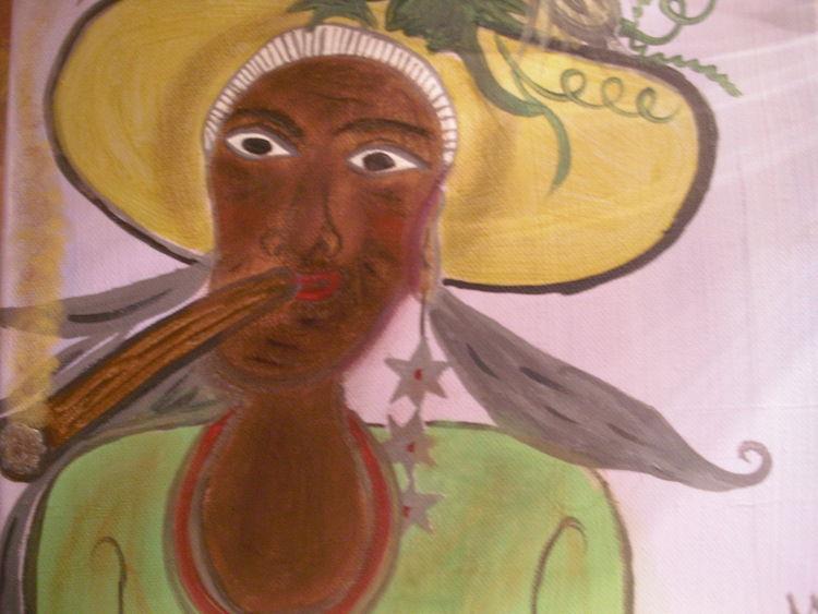 Die rauchende dame, Malerei, Dame, Kuba
