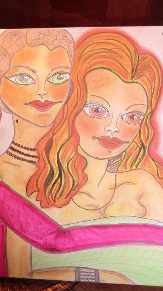 Träumereien, Besinnlichkeit, Mädel, Reiz, Malerei, Umarmung