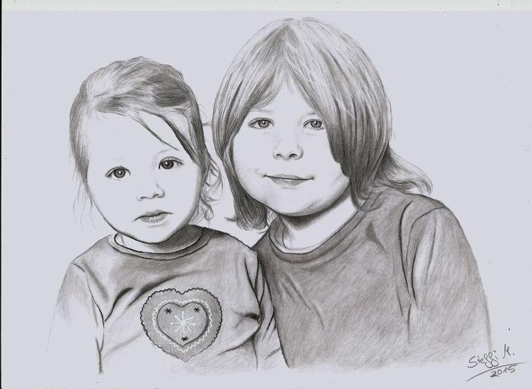 Familie, Bleistiftzeichnung, Junge, Kinder, Herz, Mädchen