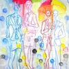 Im Regen - acryl, kunst, künstler, hintergrund, hintergründe, wunderschön, blau, pinsel, leinen, farbe, handwerk, entwurf, goldmedaille, grün, medien,Öl, originell, gemälde, muster, rosa, rot, spiegelung, gestalten, atelier, oberfläche, textur, weiß, gelb, Udo, vo