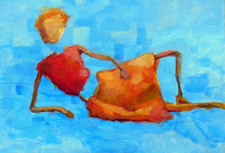Frau, Wasser, Blau, Figur, Farben, Rot