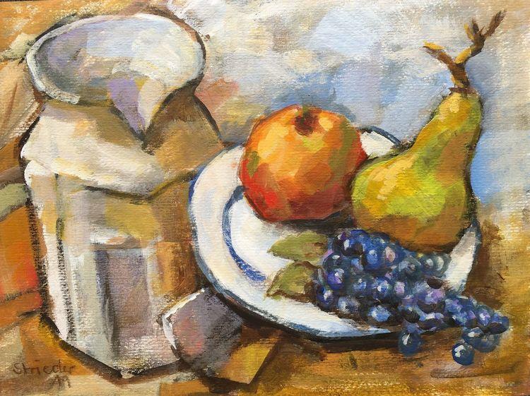 Stillleben, Farben, Apfel, Herbst, Trauben, Obst