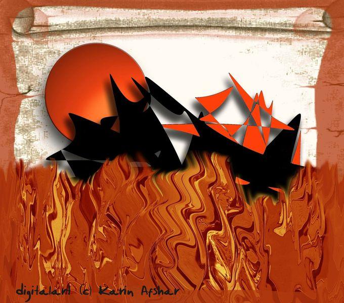 Erde, Feuer, Prophezeiung, Verschlucken, Sonne, Digitale kunst