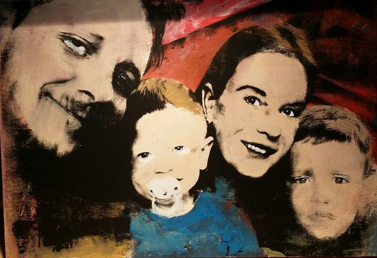Popart, Portrait, Siebdruck, Druckgrafik, Familie