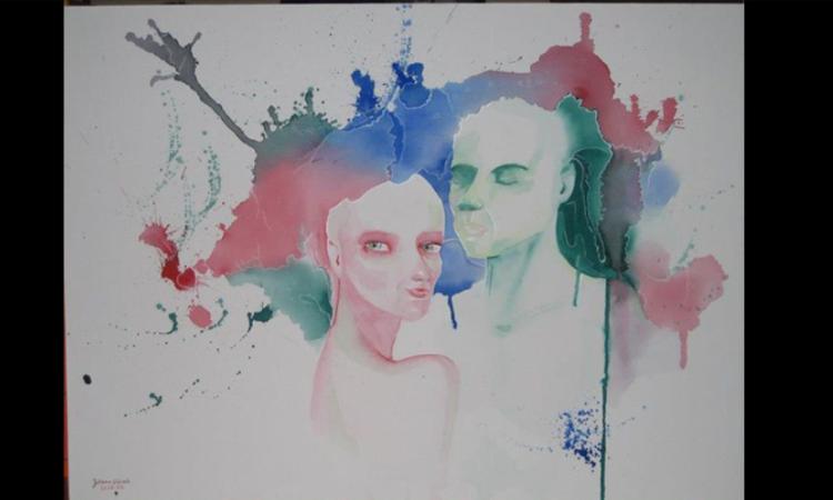 Abstrakt, Frau, Grün, Mann, Rosa, Paar