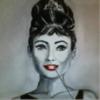 Rot schwarz, Acrylmalerei, Audrey hepburn, Weiß