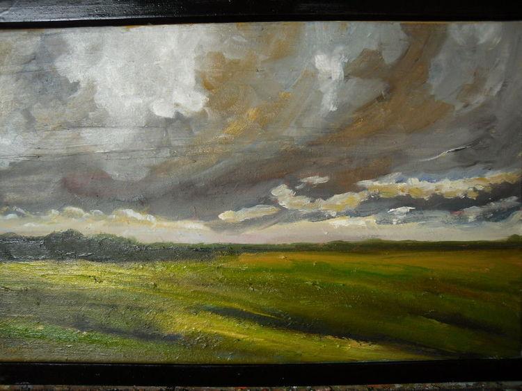 Wolken, Feld, Wind, Sturm, Wiese, Malerei