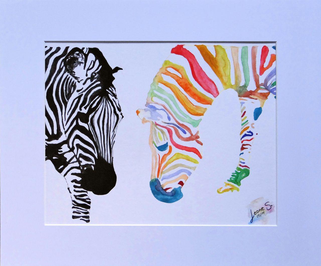 bild zebra bunt geschenk geburtstag von stefanie leone bei kunstnet. Black Bedroom Furniture Sets. Home Design Ideas