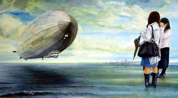 Fotorealismus, Inszenierung, Himmel, Panorama, Wolken, Zeppelin