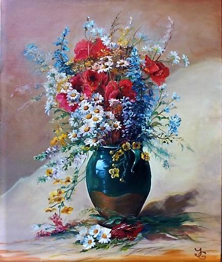Blumen, Weiß, Margariten, Rot, Ölmalerei, Blau