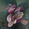 Magnolienblüte, Ölmalerei, Lila, Grün