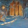 Winter, Ölmalerei, Blau, Baum