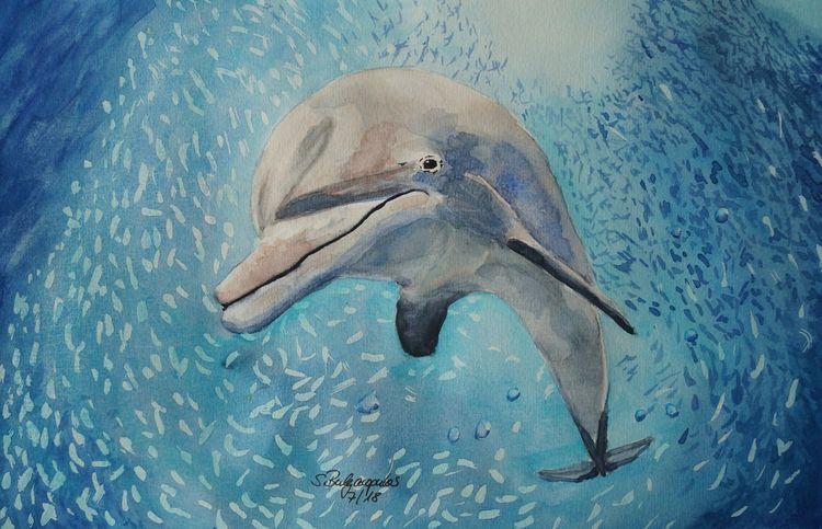 Meer, Fischschwarm, Blau, Delfin, Aquarell