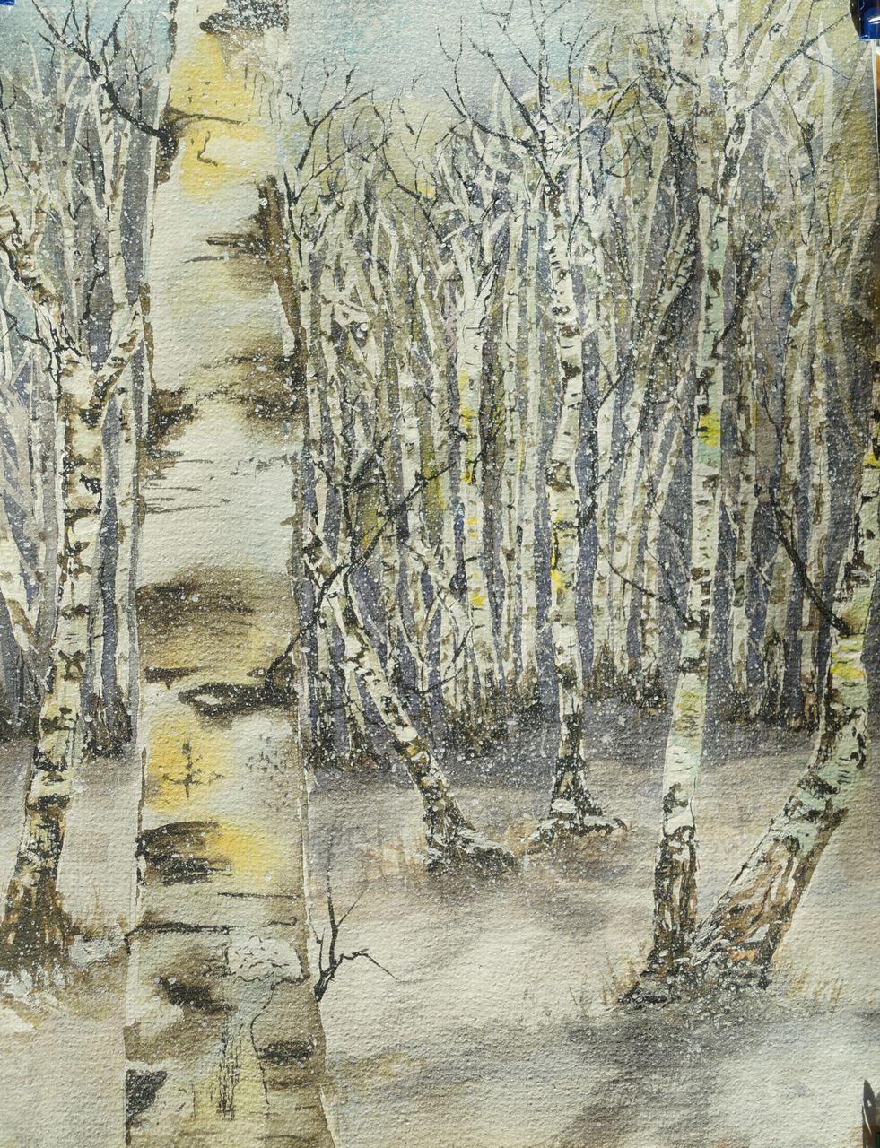 Winterbirken birken schnee wald aquarell von sabine b bei kunstnet - Schneebilder kostenlos ...