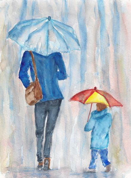 Regen, Regenschirm, Kind, Frau, Aquarell