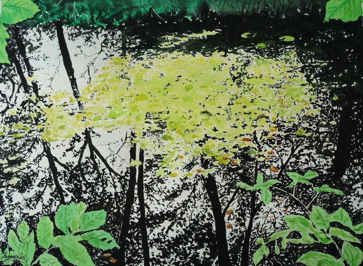 Teich, Spiegelung, Baum, Aquarell