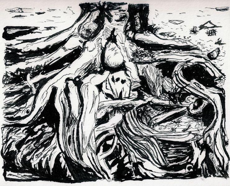Landschaft, Zeichnung, Wurzel, Zeichnungen
