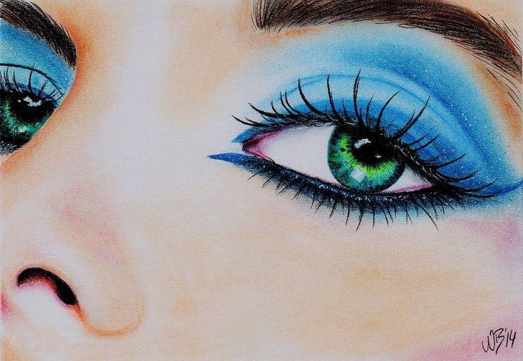Pastellmalerei, Lidschatten, Augen, Gesicht, Portrait, Menschen