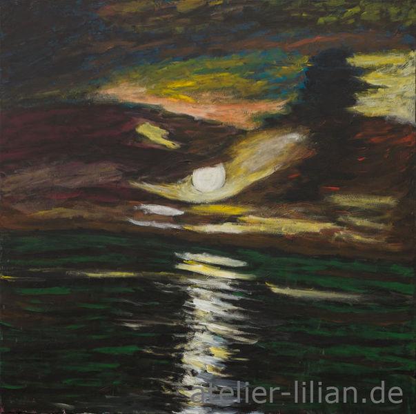 Abend, Meer, Wolken, Mond, Romantik, Nacht