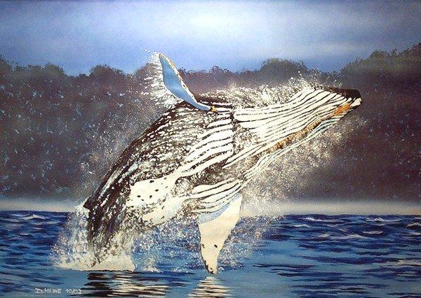 Tiere, Acrylmalerei, Lasurtechnik, Malerei, Wal