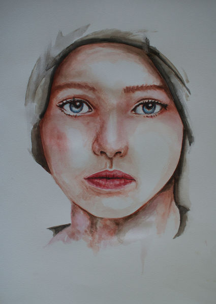 Jung, Gesicht, Aquarell,