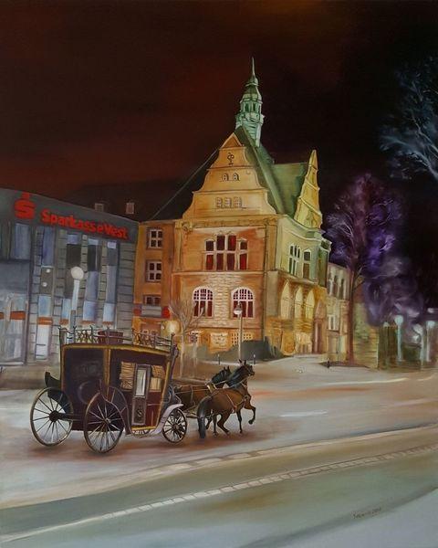 Ölmalerei, Nacht, Kasyanov, Spaziergang, Recklinghausen, Kutsche