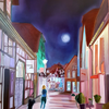 Leuchten, Spaziergang, Malerei, Menschen