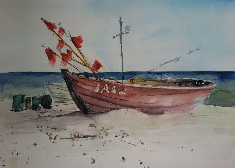 Strand, Rügen, Fischerboot, Boot, Ostsee, Aquarell