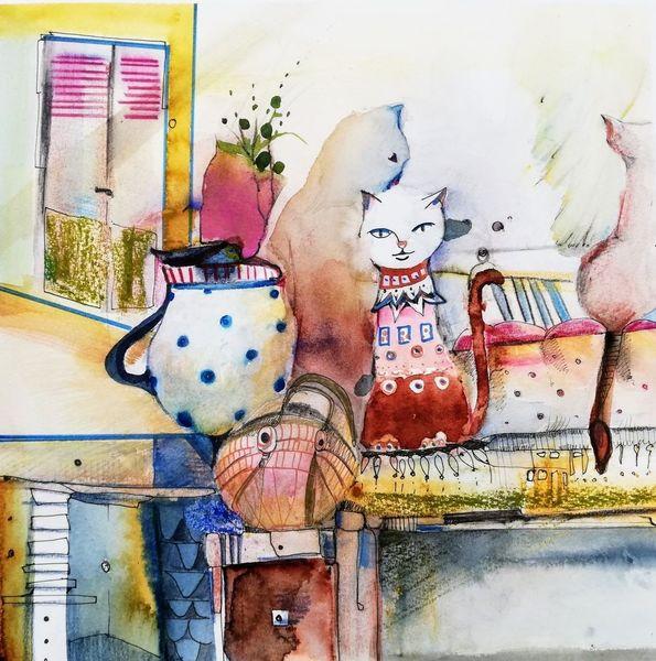 Rot, Mix, Katze, Fenster, Stube, Mischtechnik