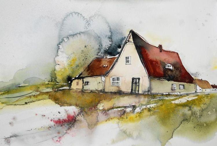 Grün, Hof, Haus, Frühjahr, Landhaus, Bauernhof