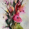 Blumen, Blüte, Strauß, Aquarell