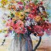 Vase, Strauß, Blumen, Aquarell