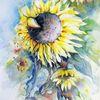 Blüte, Gelbe blumen, Sonnenblumen, Aquarell