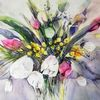 Fresien, Strauß, Vase, Blumen