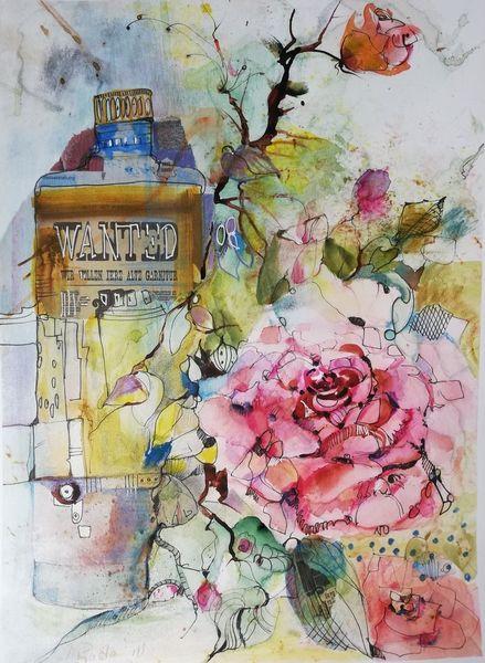 Ölmalerei, Collage, Roteblume, Schrift, Rose, Mischtechnik