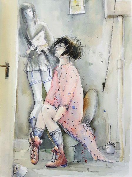 Weiblich, Szene, Reiz, Sitzung, Figur, Illustration
