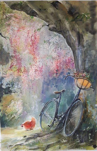 Romantik, Schatten, Huhn, Sommer, Baum, Fahrrad