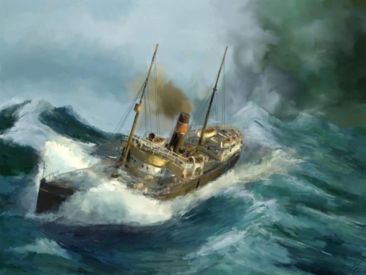 Dampfschiff, See, Meer, Schiff, Digitale kunst, Digitale gemälde