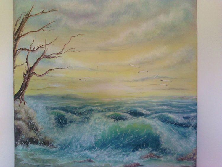 Welle, Brandung, Sonnenaufgang, Meer, Sturm, Malerei