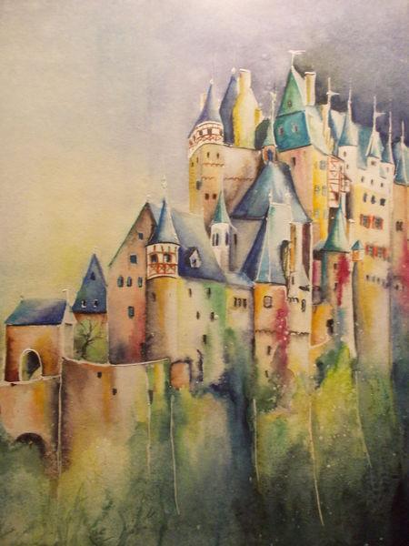 Burg eltz, Rheinlandpfalz, Historisches gebäude, Regional, Aquarellmalerei, Architektur