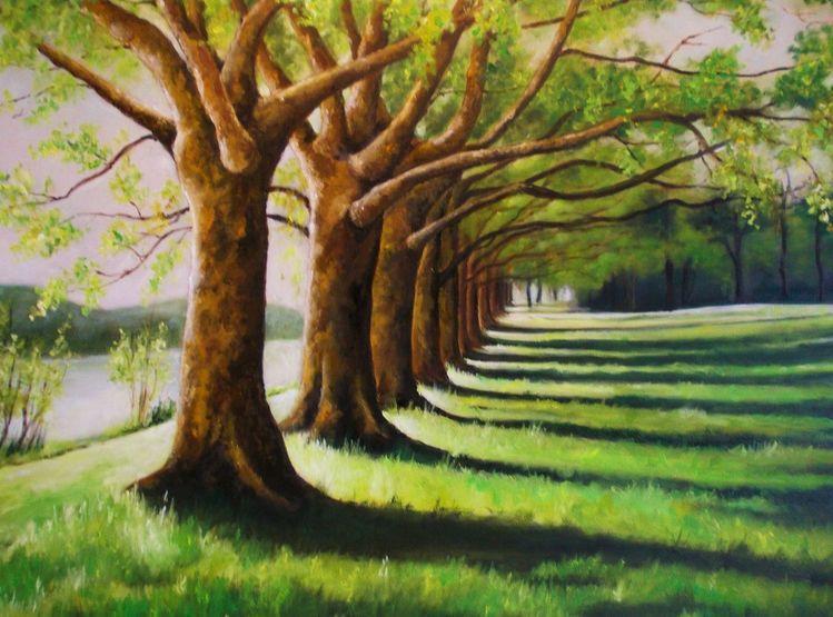 Platanen, Baum, Sommer, Landschaft, Licht und schatten, Malerei