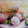 Stillleben, Apfel, Hortensien blüten, Mischtechnik