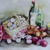 Zwiebeln, Aquarellmalerei, Champignon, Flasche