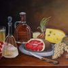 Ölmalerei, Brotzeit, Schinken, Käse